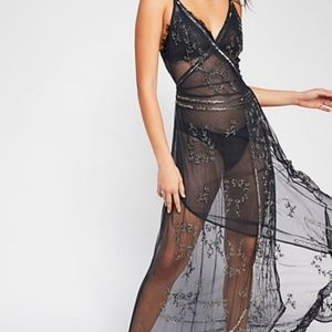 Free People Sequin Maxi Dress in Black